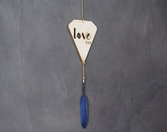 Suspension Love wood pen and metal • blue night laser pattern diamond cut engraved Decoration to suspend •