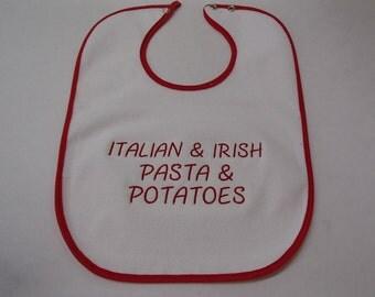 Embroidered Baby Bib with Red Trim - Italian and Irish Pasta and Potatoes