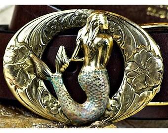 Oval Mermaid Belt Buckle