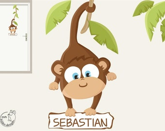 wall decal baby monkey door sign for the nursery