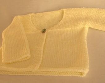 Knitted Newborn Matinee Jacket / Cardigan / Lemon