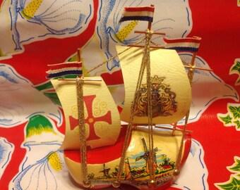 Vintage miniature Dutch wooden shoe souvenir sailboat