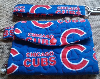 Hand Made - Custom - Womans Trifold Fabric Wallet - Washable - Quilted - Chicago Cubs - Baseball - World Series 2016 Champs