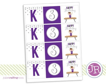 Gymnastics Birthday Party Circles/Favor Tags