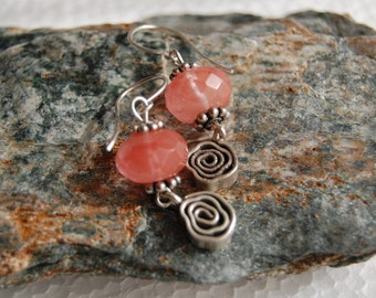 Silver 925 EARRINGS Cherry QUARTZ gemstones semi precious Handcrafted sterling silver jewelry