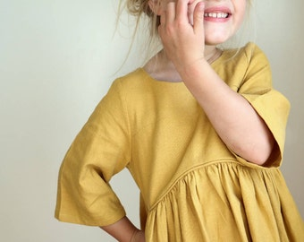 Mustard Organic Cotton Bohemian dress / Fall Dress/ Gardenia dress/ Girls Organic dress
