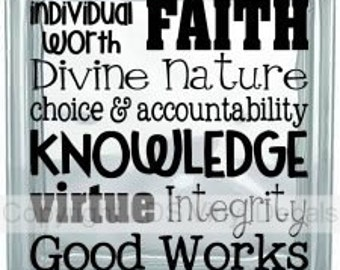 individual worth FAITH Divine Nature choice & accountability knowledge virtue Integrity Good Works  - Vinyl for Glass Blocks - YW Decals