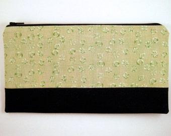 Color Block Green Black Zipper Pouch, Make Up Pouch, Gadget Bag, Pencil Case