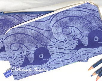 Pencil case with Hand printed fabric in Blue; Whale pencil case; zipper pouch