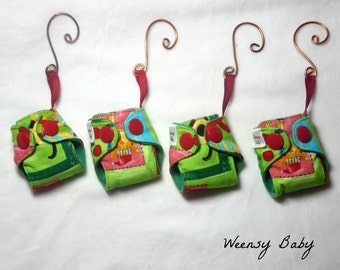 "Mini Cloth Diaper Christmas Ornaments- Christmas Pets print- 2"" Key chain or tree decoration, Cloth diaper ornament"