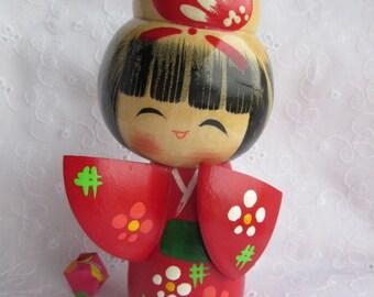 Small Kokeshi doll, cute, vintage