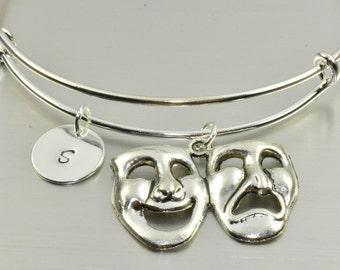 Comedy Tragedy Masks Bangle,Comedy Tragedy Bracelet,Theater Mask Bracelet,Greek Drama mask,Broadway Mask,Initial bracelet,Expandable bangle