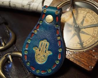 Leather Keychain - Blue Hamsah (Hand of Fatima)