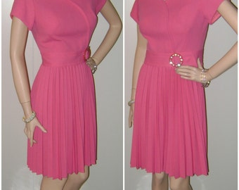 50s DESIGNER Pink Dress ADRIAN Vintage Mad Men Betty Draper Fashion 60s Mid Century Pleated Skirt Rhinestone Buckle Office Work Day Dress