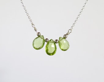 30% off Sale - Peridot Necklace - August Birthstone - Sterling Silver