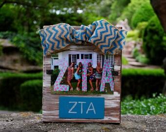 Zeta Tau Alpha Whitewashed Rustic Frame With Greek Letters