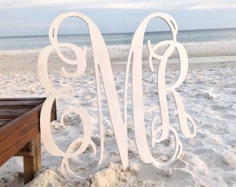 "Wooden Monogram, Door Hanger Monogram, 16"" Wood Monogram Initials"