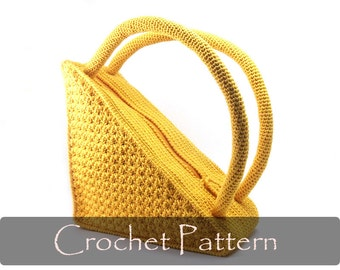 CROCHET PATTERN - Crochet Bag Pattern Round Handles Crochet Pattern Purse Pattern Unique Triangle Bag Unusual Purses and Bags PDF - P0003
