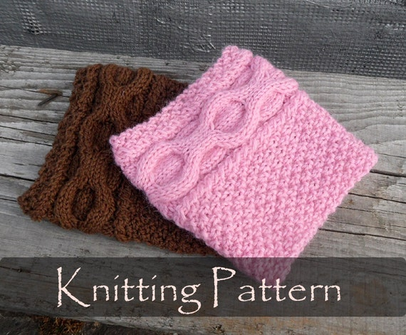Cable Leg Warmers Knitting Pattern : KNITTING PATTERN - Knit Cable Boot Cuffs Pattern Leg Warmers Boot Toppers Kni...