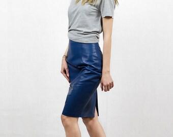 Blue leather skirt   Etsy