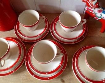 1950s Vintage - Kensington Price - polka dot - Cups- Saucers - tea plates