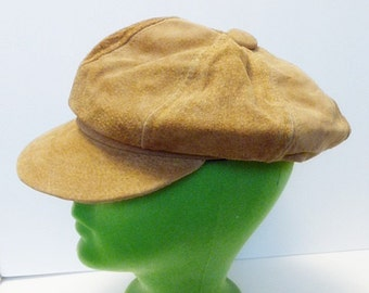 Genuin Leather News Boy Tan  Leather Cap One Size Fits All Made in the USA