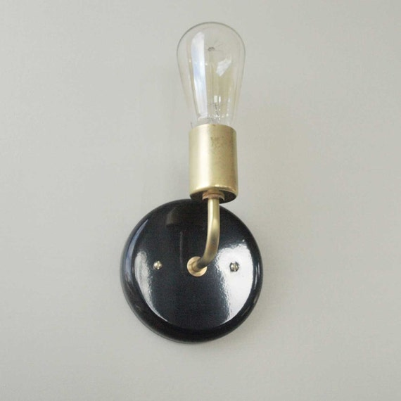 Black Gloss Wall Lights : Gloss Black Wall sconce modern lighting black and brass