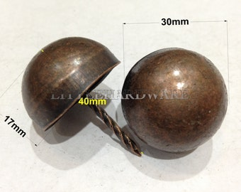A pair of Big Size upholstery tacks/decorative tacks/Thick Round Head Decorative Nails/tacks  [Red Antique Finish ] - 30 mm X 40 mm - UN76