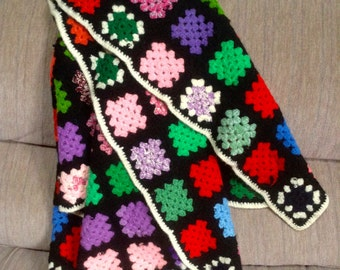 Vintage Granny Square Afghan Lap Throw, multi colors, black borders, white trim 55x34