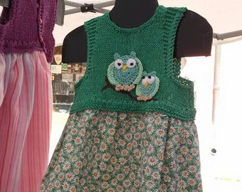 floral cotton dress with cotton bodice and decorum colorful owls
