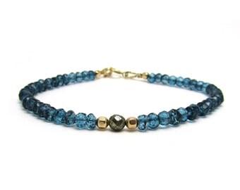 London blue topaz bracelet, delicate stacking bracelet, December birthstone bracelet, blue topaz jewelry, blue modern minimal bracelet