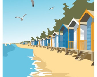 WELLS NEXT the SEA. Art Deco style print of beach huts in Wells, portrait. Portrait A4, A3, A2 in Retro, Art Deco style design