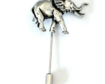 Elephant Lapel Stick Pin, Fine English Pewter, Handmade, cravat, tie (ab)
