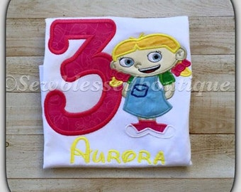 Custom Little Einsteins Inspired embroidery applique birthday Shirt Annie June Rocket