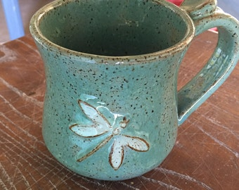 Mug, Pottery Coffee Mug with Dragonfly, Handmade Blue Coffee Mug, Dragonfly