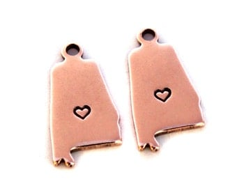 2x Rose Gold Plated Alabama State Charms w/ Hearts - M132/H-AL