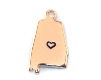 2x Gold Plated Alabama State Charms w/ Hearts - M115/H-AL