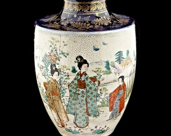 JAPANESE VASE - hand decorated porcelain vintage vase - mid 20th Century