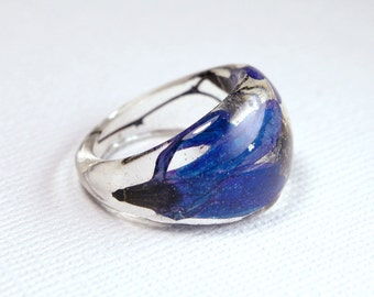 Blue resin flower ring. Botanical jewellery. Real flower jewelry. Handmade in Australia.