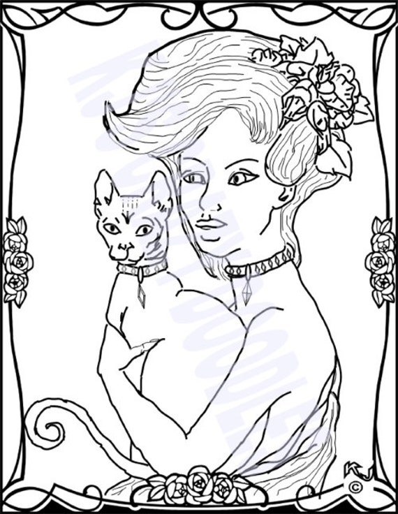 Girl With Cat Pin Up Vargas Style Coloring By Kjscrazydoodles Pin Up Coloring Pages