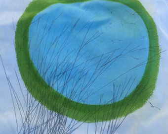 Vintage Vera Napkins, circle and sky design, blue, green and grey.