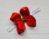 Baby girl Christmas bow headband, newborn xmas headband, baby Christmas headband with bow, holiday headband