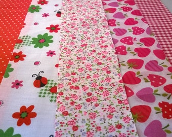10 x Ladybug Red Fabric Jelly Roll Strips Polycotton Patchwork Quilting