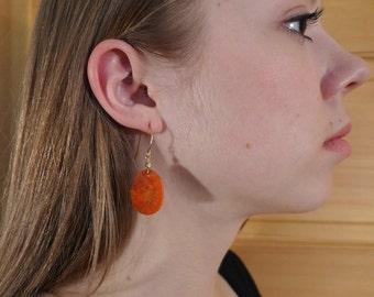 Red Sponge Coral Drop Earrings