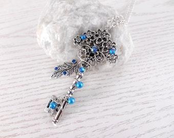 Necklace key of the air fairy key fantasy key fantasy jewelry  cross key pendant