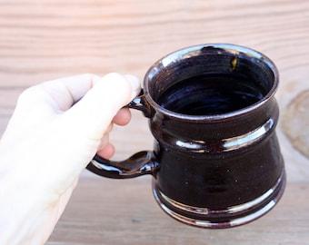 Beer Stein. 12 Oz Stoneware Tankard Mug. Coffee Cup in Chocolate Black. Handmade Stoneware Coffee Cup. Hot Tea Mug.