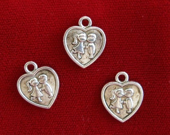 """10pc """"young love"""" charms in antique silver (BC890)"""