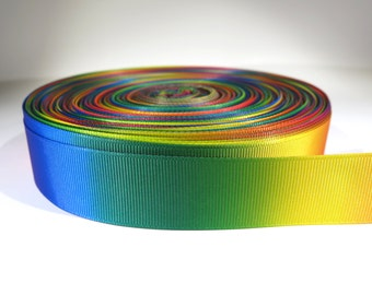 "5 yards of 7/8 inch ""rainbow"" grosgrain ribbon"