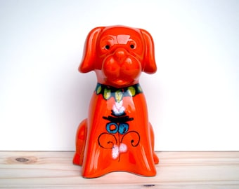 Italian hand-painted Bertoncello orange dog money box, piggy bank, made in Italy