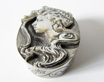 Stunning Small Original Pewter Trinket Box With A Art Nouveau Lady On The Lid By A E Williams. /MEMsArtShop.